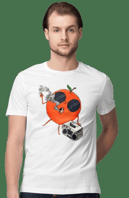 Футболка чоловіча з принтом Апельсин Курить І Слухає Музику. Апельсин, курить, музика, цитрус. CustomPrint.market