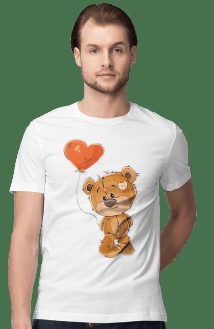 Футболка чоловіча з принтом Мишко З Повітряним Шариком. Ведмідь, мило, повітряну кульку. BlackLine
