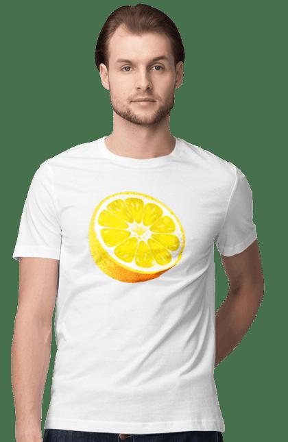 Футболка чоловіча з принтом Половина лимона. Лимон, літо, свіжість.