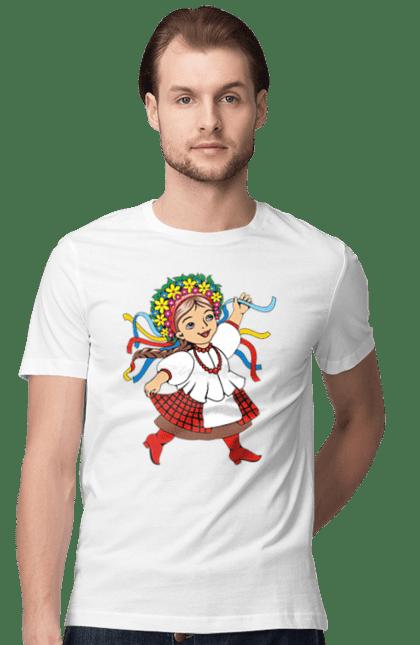 Футболка чоловіча з принтом Українка В Червоних Чоботях. Вінок, українка, червоні чоботи.