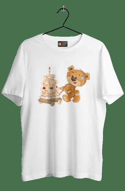 Футболка чоловіча з принтом Ведмедик з тортом. Ведмідь, день народження, медвеженок, торт. Sector
