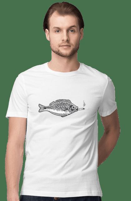 Футболка чоловіча з принтом Риба Курить Сигарету. Курити, риба, сигарета. BlackLine