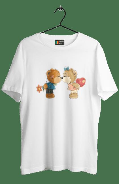 Футболка чоловіча з принтом Ведмедики цілуються. Ведмедики, ведмідь, цілуватися. Sector