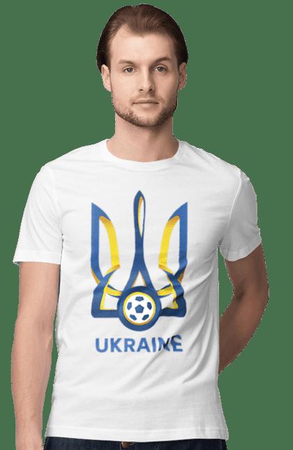 Футболка чоловіча з принтом Футбол Герб України 2020. Герб україни, євро 2020, футбол.