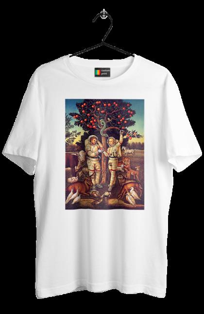 Футболка чоловіча з принтом Картина Адам І Єва Космонавти. Адам, єва, звірі, змія, картина. BlackLine