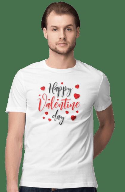 Футболка чоловіча з принтом Щасливого Дня Закоханих. День святого валентина, кохання, напис, свято. BlackLine