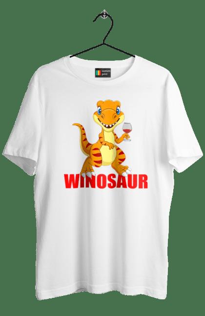 Футболка чоловіча з принтом Вінозавр, динозавр з вином. Вино, вінозавр, динозавр. Sector