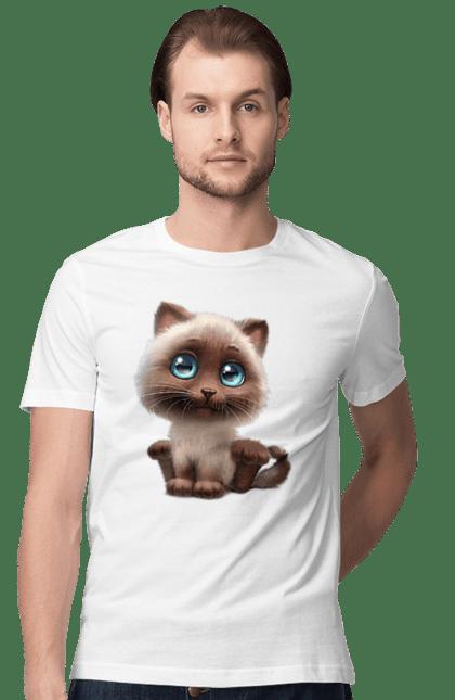 Футболка чоловіча з принтом Коричневий котик з блакитними очима. Коричневий котик, котик, мило. Sector