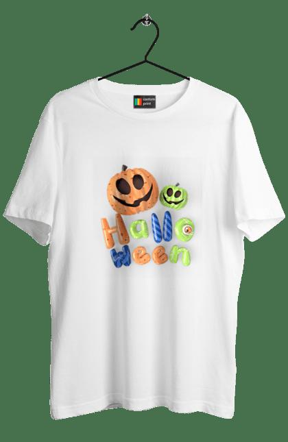 Футболка чоловіча з принтом Тыквы разноцветные 3D. 3D, разноцветный, тыква, фонарь джека, хеллоуин. CustomPrint.market