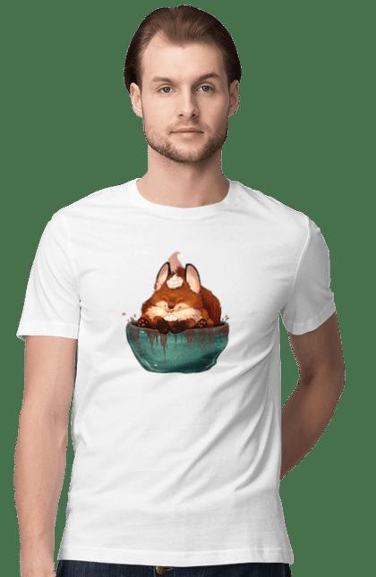 Футболка чоловіча з принтом Лисеня в чашці з какао. Десерт, какао, лисеня, лисиць, чашка. BlackLine
