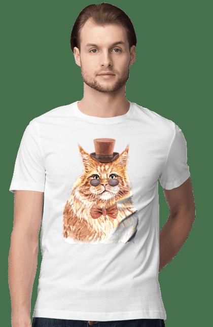 Футболка чоловіча з принтом Рудий кіт в капелюсі і окулярах. Бант, капелюх, кіт, котик, окуляри.