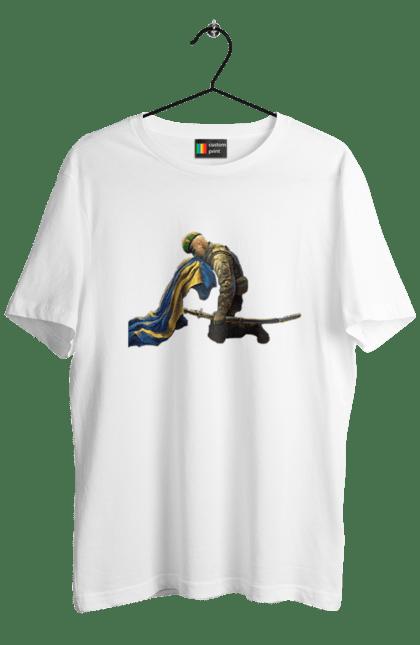 Футболка чоловіча з принтом Солдат. Прапор, солдат, україна, шабля. CustomPrint.market