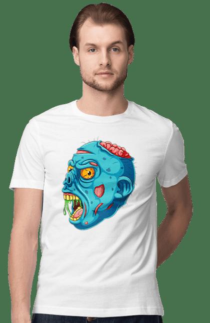 Футболка чоловіча з принтом Хеллоуїн, зомбі з мізками. Зомбі, кров, мізки, смерть, хеллоуїн. BlackLine