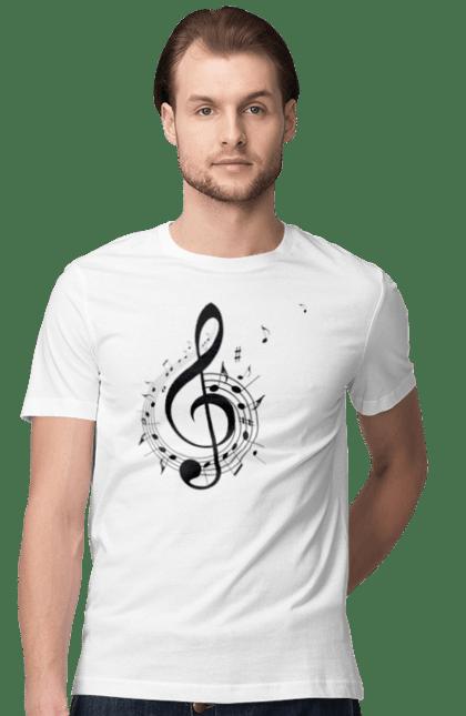 Футболка чоловіча з принтом Музика, Скрипковий Ключ І Ноти. Мелодія, музика, ноти, скрипковий ключ. CustomPrint.market