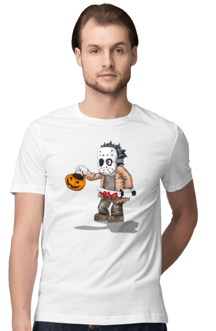 Футболка чоловіча з принтом Джейсон з гарбузом. Гарбуз, джейсон, кров, маніяк, ніж, хелловін. CustomPrint.market