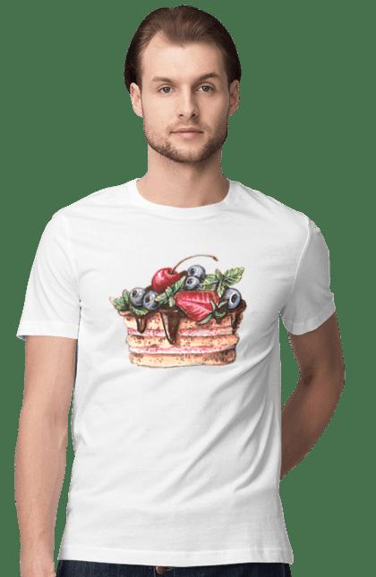Футболка чоловіча з принтом Торт. Вишні, полуниця, смородина, торт. BlackLine