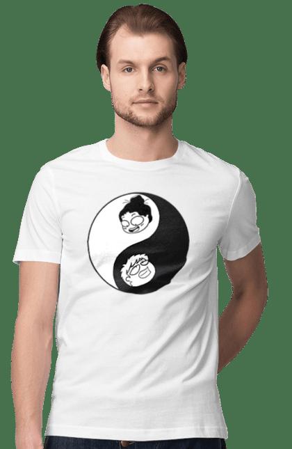 Футболка чоловіча з принтом Дівчинка І Хлопчик Інь І Янь. Інь янь. CustomPrint.market