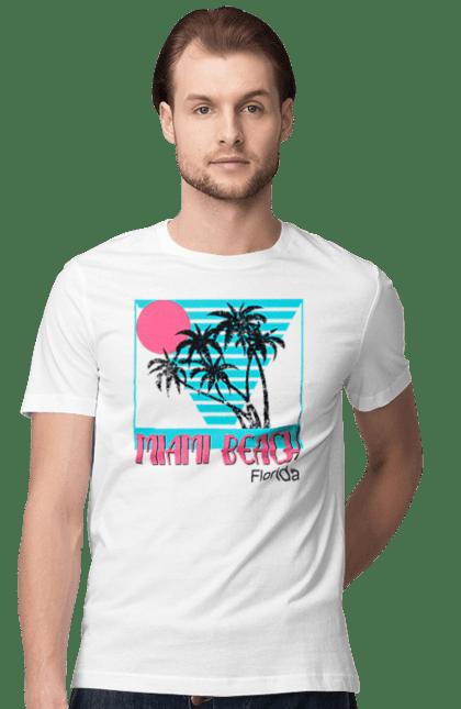 Футболка чоловіча з принтом Майамі Пальми. Захід, майамі, пальми, флоріда.
