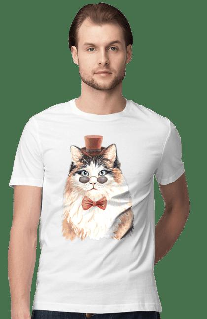 Футболка чоловіча з принтом Біло-рудий кіт в капелюсі. Капелюх, кіт, котик, окуляри.
