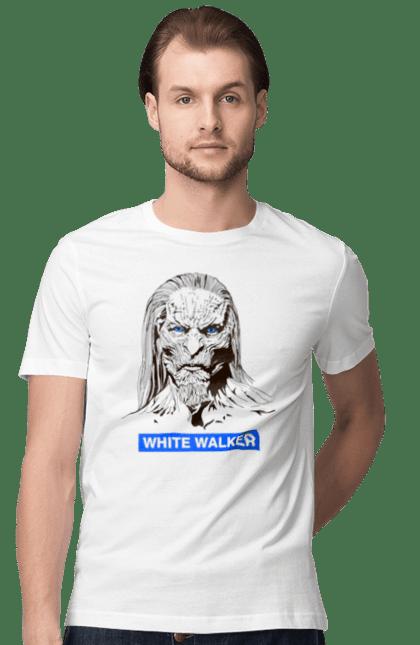 Футболка чоловіча з принтом Білий ходак. Білий, гра престолів, портрет, ходак.