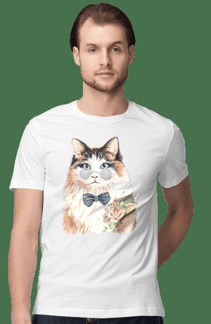 Футболка чоловіча з принтом Біло-рудий кіт в окулярах. Бант, кіт, котик, окуляри.