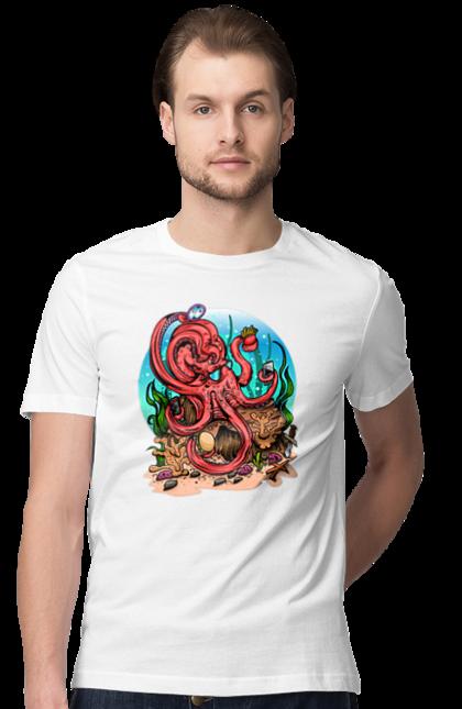 Футболка чоловіча з принтом Восьминіг в окулярах з телефоном. Восьминіг, гамбургер, дзеркало, морська тварина, океан, телефон. BlackLine
