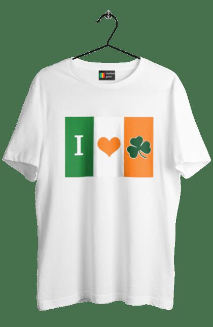 Футболка чоловіча з принтом Прапор Ірландії. Ірландія, патрік, прапор, удача. CustomPrint.market