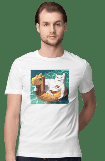 Футболка чоловіча з принтом Білий кіт у плавальному колі, на відпочинку. Басейн, відпочинок, кіт, коктейль, море, плавальний круг. BlackLine