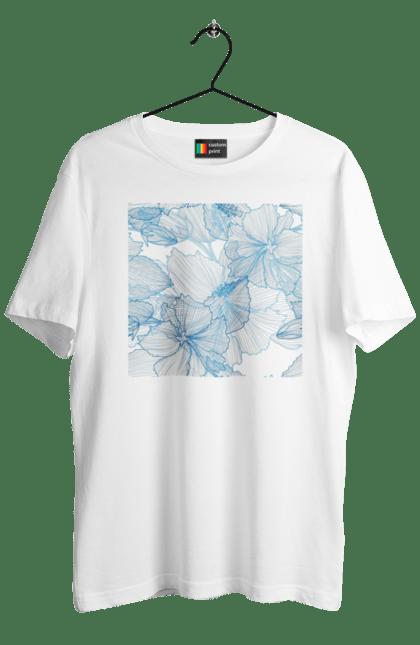 Футболка чоловіча з принтом Блакитні Візерункові Квіти. Візерунок, квітка. BlackLine