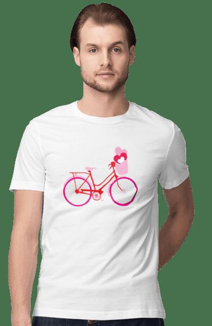 Футболка чоловіча з принтом Велосипед з сердечками. 14 лютого, велосипед, день валентина, день закоханих, серденька. BlackLine