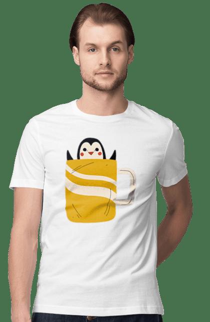 Футболка чоловіча з принтом Пінгвін в чашці. Зима, кава, осінь, пінгвін, чай, чашка. BlackLine