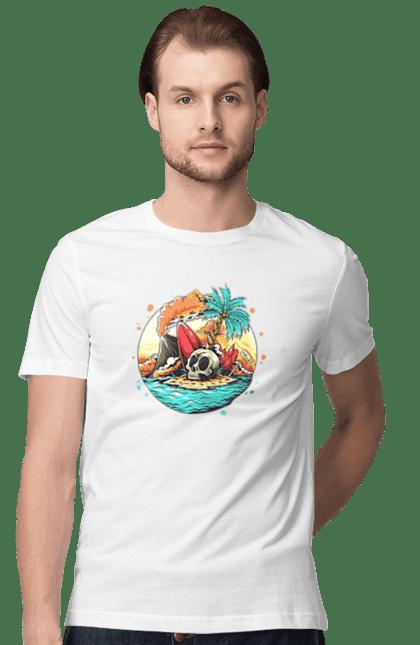 Футболка чоловіча з принтом Спекотне Літо. Літо, море, острів, пальма, серфінг, череп. CustomPrint.market