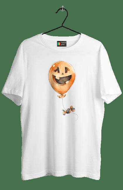 Футболка чоловіча з принтом 28. Гарбуз, забавний, кулька, куля, хелловін. CustomPrint.market