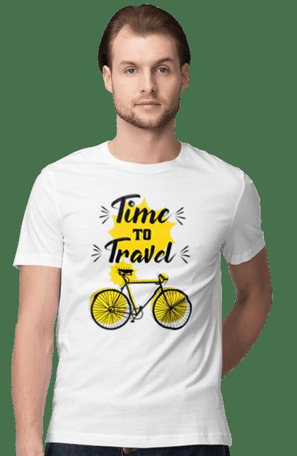 Футболка чоловіча з принтом Час Подорожей, Велосипед. Велосипед, подорожувати, час. CustomPrint.market