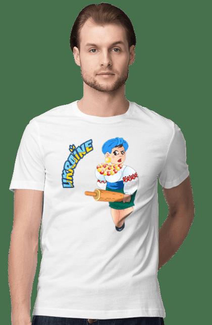 Футболка чоловіча з принтом Україна, Українка З Качалкою. Україна, українка.