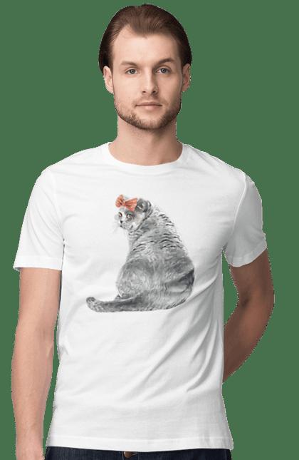 Футболка чоловіча з принтом Котик в банті. Бант, кіт, котик.