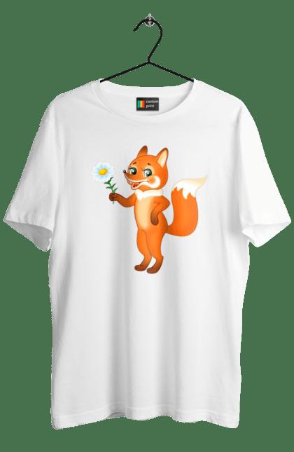 Футболка чоловіча з принтом Лисиця з ромашкою. Квітка, лисиць, лисиця, ромашка, руда лисиця. Sector