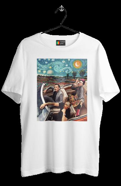 Футболка чоловіча з принтом Картина В Машині І Зоряна Ніч. Ван гог, дали, картина, машина, прикол, фріда кало. BlackLine