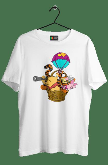 Футболка чоловіча з принтом Вінні Пух І Його Друзі На Повітряній Кулі. Вінні пух, мультик, повітряна куля. BlackLine