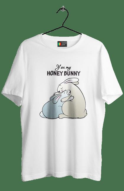 Футболка чоловіча з принтом Зайки You My Honey Bunny. День закоханих, для дівчини, для хлопця, дружині, зайці, коханій, кохання, Коханому, кролик, обнімашкі, пара, сім'я, чоловікові. CustomPrint.market