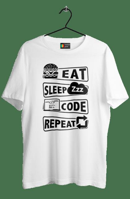Футболка чоловіча з принтом Їжа, Сон, Код, Повторити, Програміст Чорний. День програміста, їжа, код, програміст, сон. BlackLine
