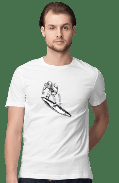Футболка чоловіча з принтом Скелет на серфінгу. Вінтаж, ретро, серфінг, скелет. BlackLine
