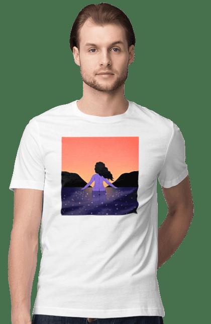 Футболка чоловіча з принтом Йду В Захід. Дівчина, захід, море. CustomPrint.market