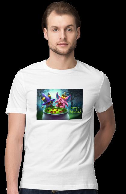 Футболка чоловіча з принтом Покемони, веселого хеллоуїна. Зілля, покемон, покемони, хеллоуїн, яблука. BlackLine