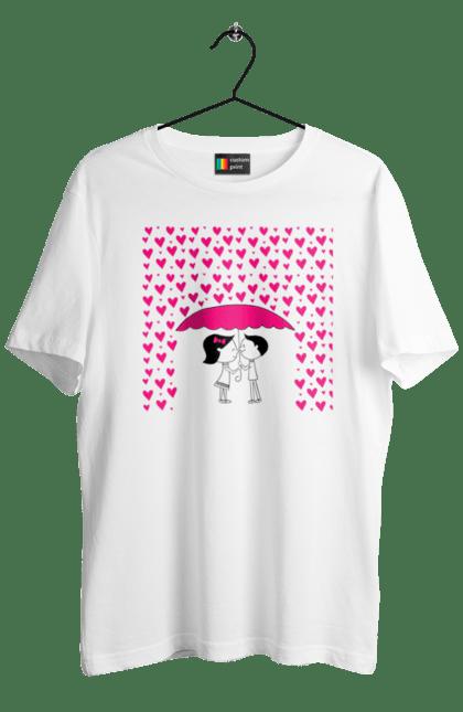 Футболка чоловіча з принтом Закохані Під Парасолькою І Серцепадом. Закохані, любов, кохання, парасолька, серце. BlackLine