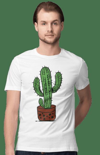 Футболка чоловіча з принтом Зелений Кактус. Кактус, фарби. BlackLine
