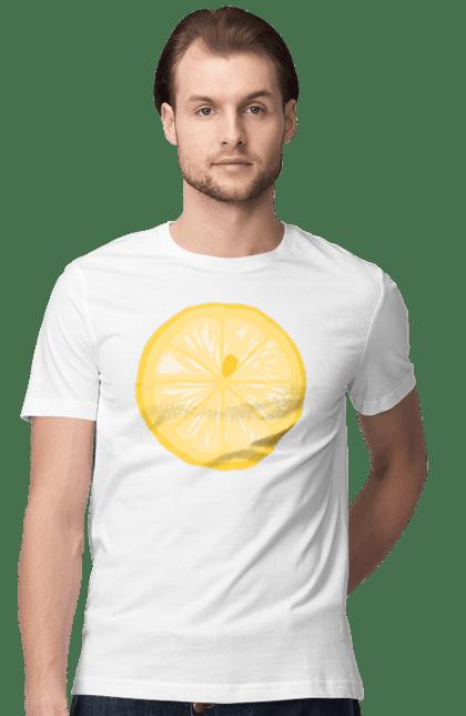 Футболка чоловіча з принтом Круглий лимон. Лето, лимон. CustomPrint.market
