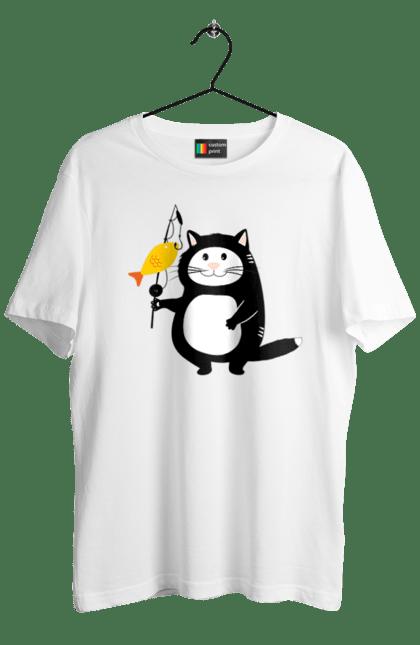 Футболка чоловіча з принтом Кіт На Рибалці (Sorokina). Кіт, рибалка, рибки, удочка. CustomPrint.market