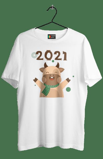 Футболка чоловіча з принтом Новий 2021 рік Бика. 2021, бик, новий рік, свято. CustomPrint.market