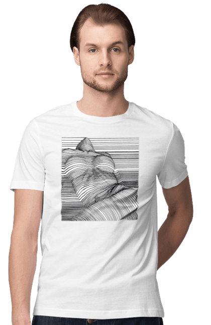 Футболка чоловіча з принтом Дівчина В Смужку. 18+, гола, сиськи. CustomPrint.market